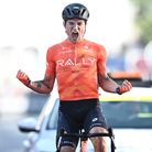 Rally Cycling's Robin Carpenter wins stage twoof the Tour of Britain in Exeter.
