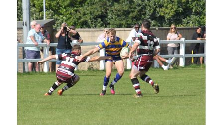 Clevedon RFC'sMason Parslow on the attack at Cleve.