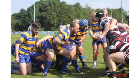 Scrum time during Clevedon RFC's match withCleve.