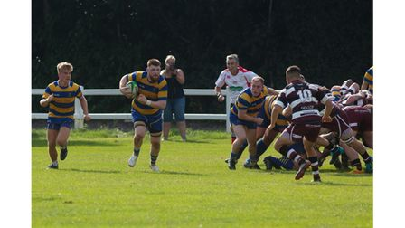 Clevedon RFC's Edd Ryder-Smith carries from the base of the scrum at Cleve.