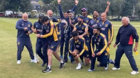 Crouch End celebrate being crowned Premier Division champions