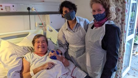 Olivia D'Lima and mum Debbie with patient Shirley Whales at Isabel Hospice.