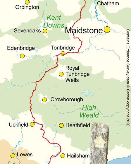 The Wealdway map