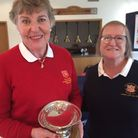 Essex Captain Janice Hazledine receives the Inter County Second Team Trophy from St Ives Lady Captain Marie Woodall.