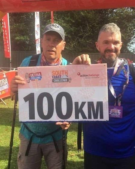 IanMclachanand Michael Kirsop on completing their 100Km challenge