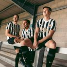 Thenew black-and-white third strip is modelled by players Asa Hall, Ben Wynter and Armani Little.