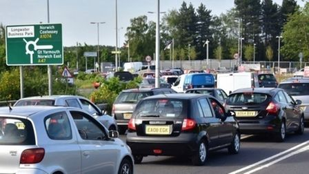 Traffic at Longwater retail park in Costessey. Picture: Gary Blundell