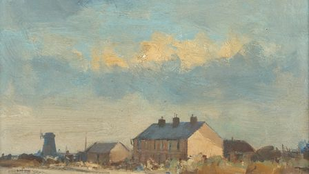 After a Shower, Norfolk, oil on board, 9 x 11 ins (23 x 28 cm) by Ian Houston