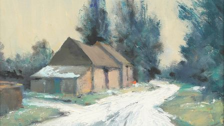 Barns in the Snow at Ludham, Norfolk,Mixed media on canvas, 11 x 14 ins (28 x 36 cm) - 2020 by Ian Houston