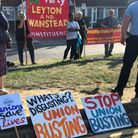 Placards at the NEU picket of Oaks Park School