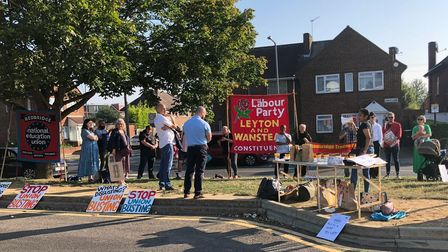 National Education Union picketers outside Oaks Park School this morning (September 7)
