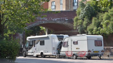 Travellers camping on sainsburys car park on queens road in Norwich