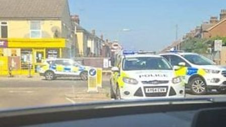 Police cars at the scene in Foxhall Road, Ipswich