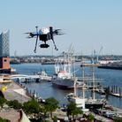 A drone flying over the Port of Hamburg