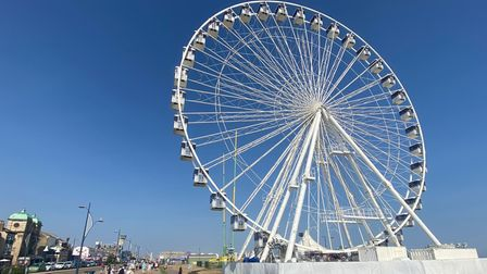 The Big Wheel in Great Yarmouth with clear blue skies behind it.