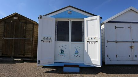 This beach hut at Brackenbury Cliffs in Felixstowe has a guide price of £50,000