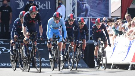 INEOS Grenadiers set off on their team time trial on stage three of the 2021 Tour of Britain.