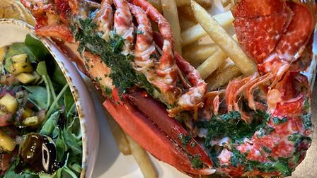 Delicious lobster and chips