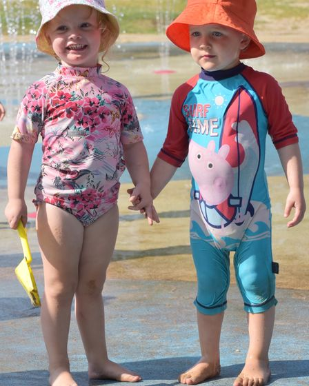 Children enjoy the water fountains in Waterloo Park Haydn and Penny Byline: Sonya Duncan
