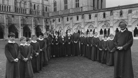 Norwich Cathedral Choir School and choir master Michael Nicholas, 3rd October 1990. Photo: Archant L