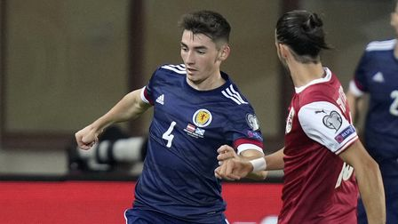 Scotland's Billy Gilmour (left) in action during the 2022 FIFA World Cup Qualifying match at Ernst H