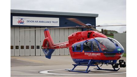 The new Devon Air Ambulance H145 at its Exeter base.