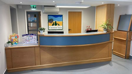 The reception of Cromer Vets new practice in Overstrand Road.
