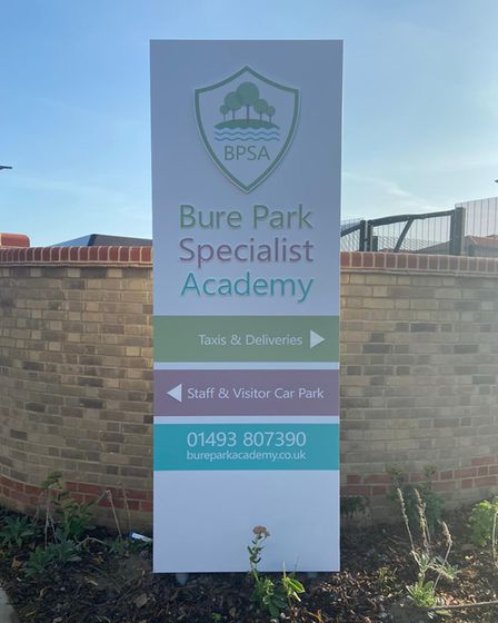 The school sign for Bure Park Specialist Academy.