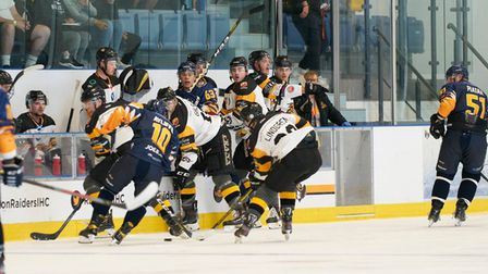 Raiders in action against Bees at the Sapphire Ice and Leisure Centre