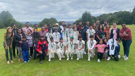 Harold Wood Under 12s celebrate winning theBrian Taylor Trophy with parents