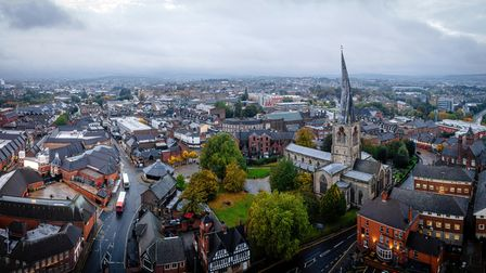 The crooked spire of the Church of St Mary and All Saints in Chesterfield dominates the town's skyline