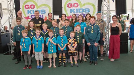1st Milton Scouts receiving their cheque from 4Square Kate Bach and MC Tim Lamb at Weston Lions Club