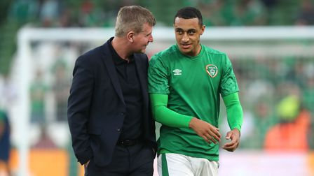 Republic of Ireland manager Stephen Kenny (left) and Adam Idah before the 2022 FIFA World Cup Qualif
