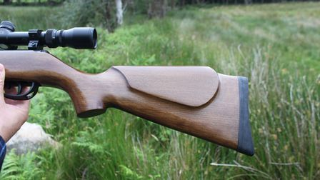 Close up of the stock on a second-hand BAM XS-B19 break-barrel air rifle