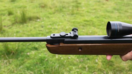 Close up of sights on a second-hand BAM XS-B19 break-barrel air rifle