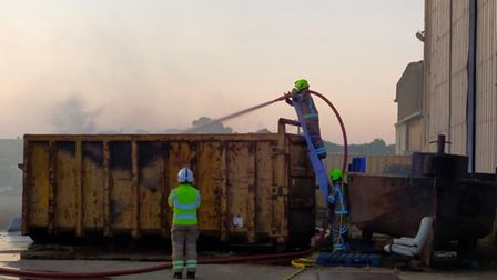 Firefighters from Lowestoft South fire station tackle the skip fire.
