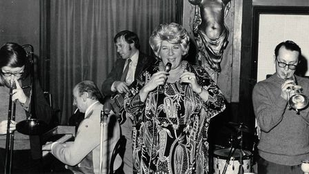 Beryl Bryden at the Jacquard Club on Magdalen Street, Norwich in 1973
