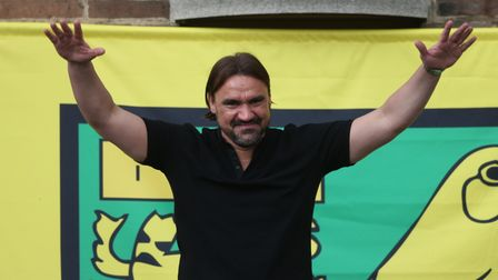Norwich City manager Daniel Farke during the Norwich City Victory Parade and civic reception at Norw