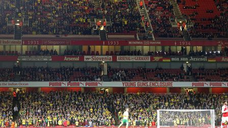 The traveling Norwich fans before the Carabao Cup match at the Emirates Stadium, LondonPicture by