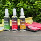 The new range of gun cleaning products from On Target lined up on a table outside