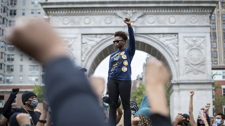 GLOBAL OUTRAGE: Demonstrators protest against the killing of George Floyd in WAshington Square Park.