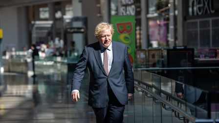 Prime minister Boris Johnson during a visit to Westfield Stratford City to see the coronavirus measu