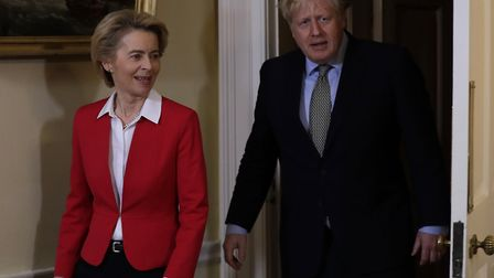 Prime Minister Boris Johnson and EU Commission president Ursula von der Leyen in a meeting in Downin