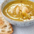 Spiced cauliflower soup withwood fired prawn and crispy sourdough