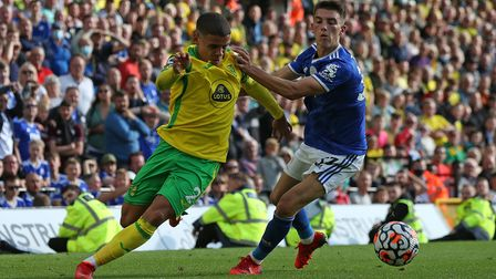 Max Aarons of Norwich and Luke Thomas of Leicester City in action during the Premier League match at