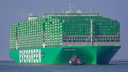 The world's largest container ship, Ever Ace, pictured here in Rotterdam, is coming to Felixstowe