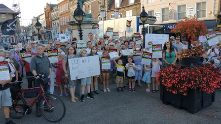 Residents from the St Ives area gathered around the Oliver Cromwell statue