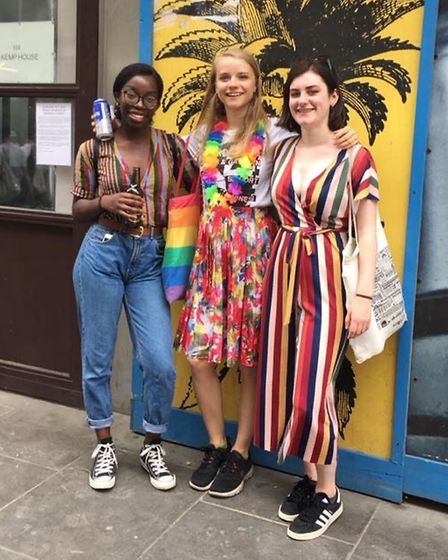 Gaia Young, centre, with two of her friends