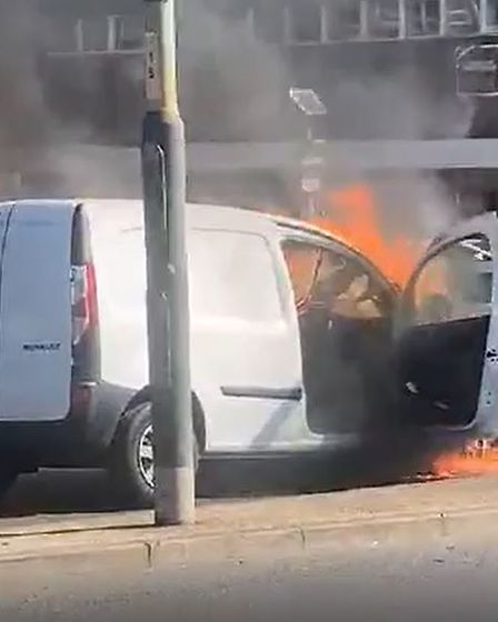 A van is currently on fire on the St Stephen's roundabout in Norwich.
