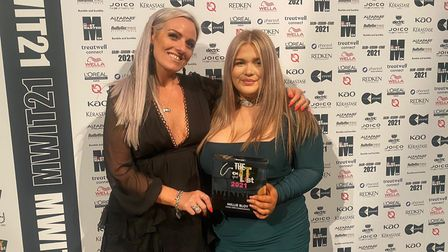 CODE Hair Consultants owner Laura Bull with Millie Bloy, who was named UK's Rising Star.